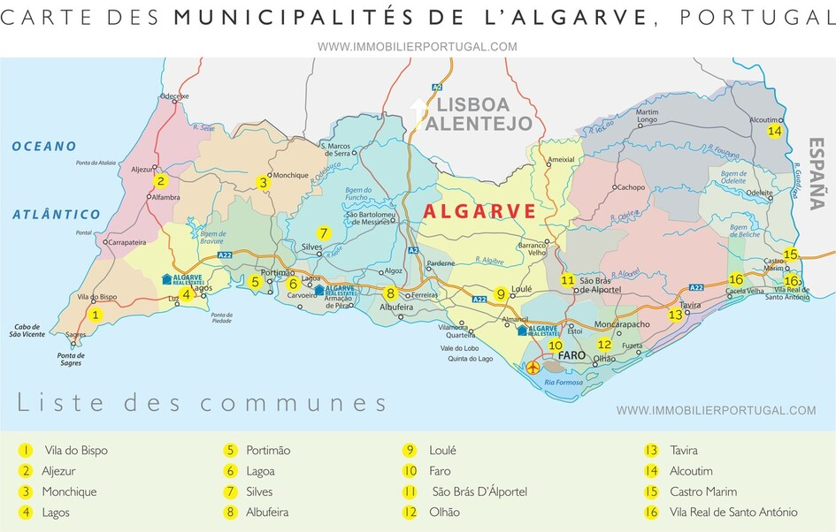 Carte de l'Algarve, au Portugal